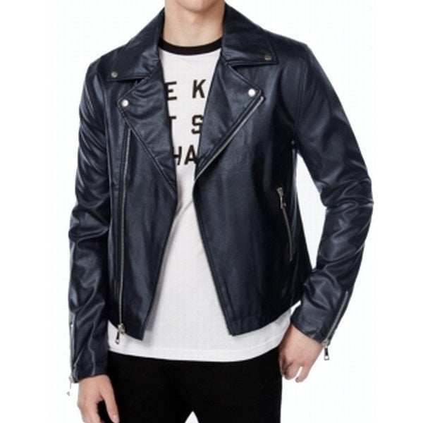 5b17402b2 Shop Wht Space NEW Navy Blue Mens Large L Faux-Leather Motorcycle ...