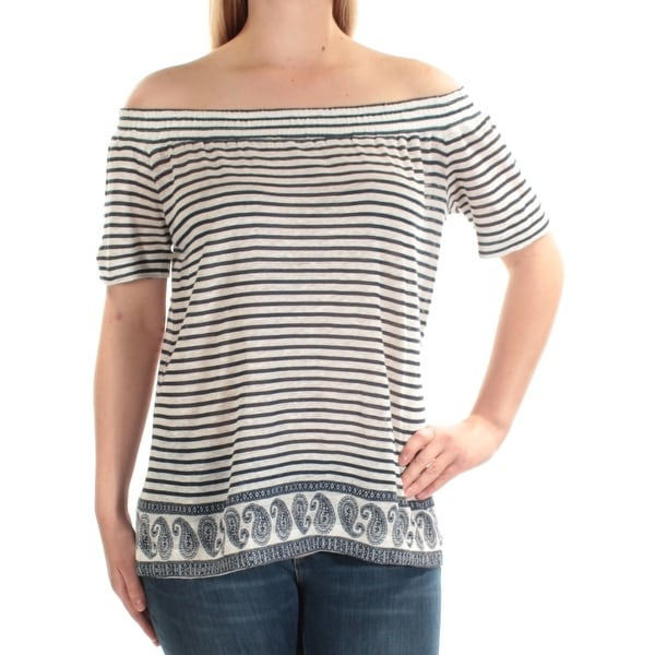 abbe7fde70843 Shop VINCE CAMUTO Womens Ivory Striped Short Sleeve Off Shoulder Top Size   XL - On Sale - Free Shipping On Orders Over  45 - Overstock - 23457171