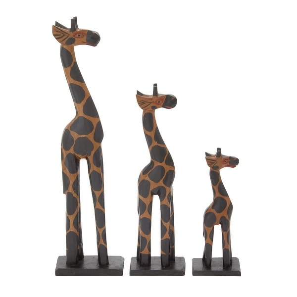 Elegant Wood Giraffe Set Of 3