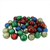50 Count Shiny Red Blue Green And Gold Shatterproof Mercury Ball