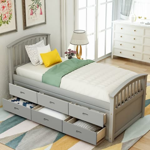 Nestfair Twin Size Platform Storage Solid Wood Bed with 6-Drawers