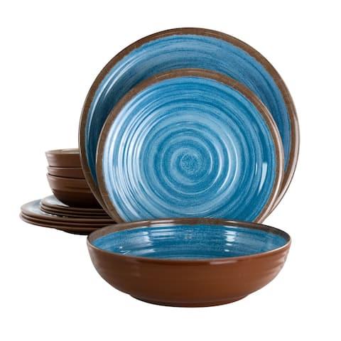 Elama Rippled Tides 12 pc Lightweight Melamine Dinnerware Set in Blue