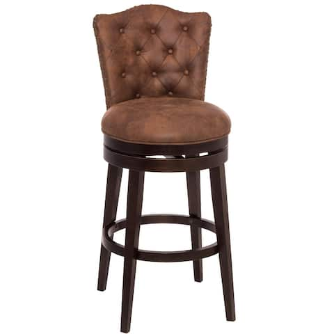 Gracewood Hollow Susic Tufted Brown Swivel Counter Stool