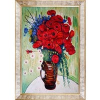 Vase with Daisies and Poppies by Vincent Van Gogh Framed Hand Painted Oil on Canvas