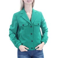 ANNE KLEIN Womens Green Snap Front Blazer Wear To Work Jacket  Size: 4