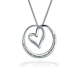 Bling Jewelry Open Heart Sisters Message Pendant Sterling Silver Necklace 18 Inches