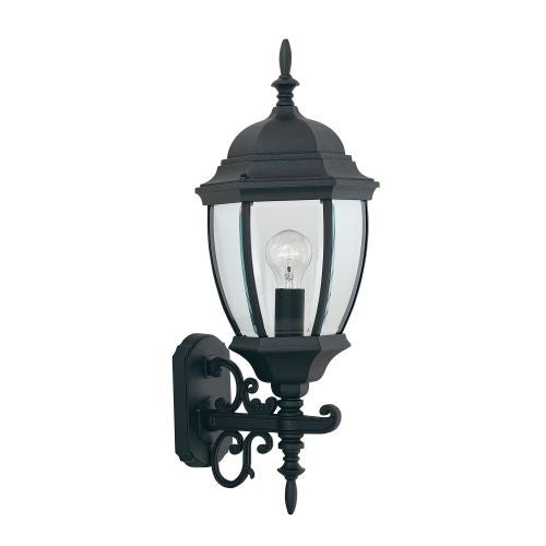 "Designers Fountain 2432-BK 1 Light 9.5"" Cast Aluminum Wall Lantern from the Tiverton Collection"