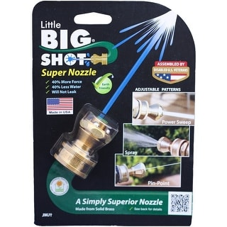 Little Big Shot LBS-106 3 Pattern Adjustable Hose Nozzle, Brass