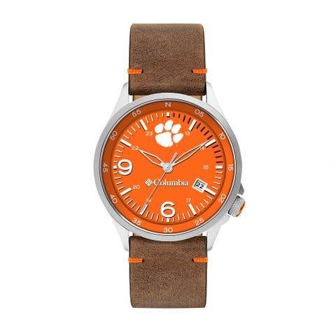 Columbia Canyon Ridge Clemson 3-Hand Date Saddle Leather Watch - Orange