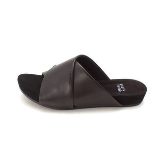 Eileen Fisher Womens Hippie Leather Open Toe Casual Slide Black Size 55