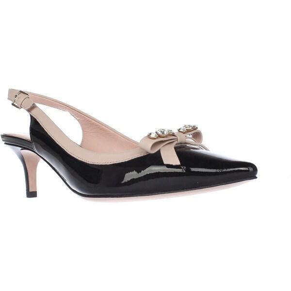 Kate Spade New York Palina Sling Back Pump Heels, Black Patent/Pale Pink