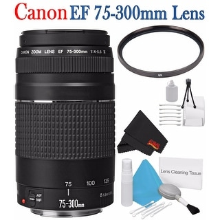 Canon EF 75-300mm f/4-5.6 III Telephoto Zoom Lens 6473A003 + 58mm UV Filter + Deluxe Starter Kit Bundle
