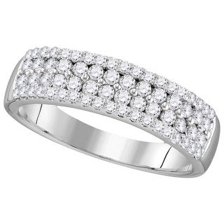 10kt White Gold Womens Round Natural Diamond Pave Band Fashion Ring 3/4 Cttw