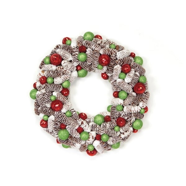 "21"" Candy Crush Frosted Pine Cone and Ball Ornament Artificial Christmas Wreath"