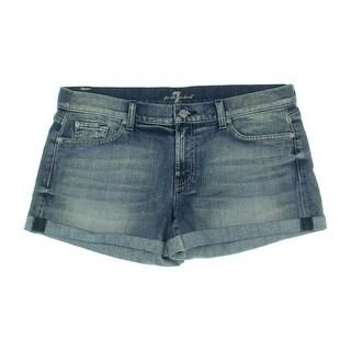7 For All Mankind Womens Denim Cuffed Denim Shorts - 32