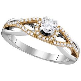 3/8Ctw Diamond Bridal Engagement Ring 10K White-Gold