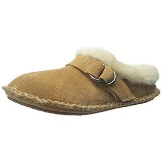 Clarks Womens Suede Faux Fur Clog Slippers - 5 medium (b,m)