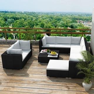 "vidaXL 10 Piece Garden Lounge Set with Cushions Poly Rattan Black - 28"" x 28"" x 25"""