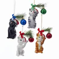 "Club Pack of 48 Christmas Cat Decorative Hanging Ornaments with Ribbon 5"" - WHITE"