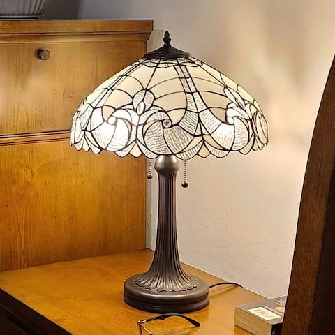 Tiffany Style White Table Lamp Amora Lighting
