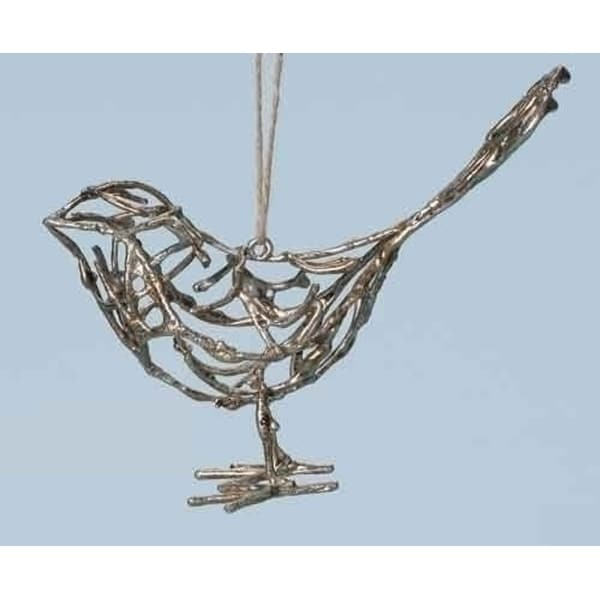 "6"" Yuletide Antiqued Wire Branch Bird Christmas Ornament"