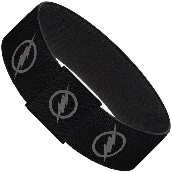 "Reverse Flash Logo Black Gray Elastic Bracelet   1.0"" Wide"