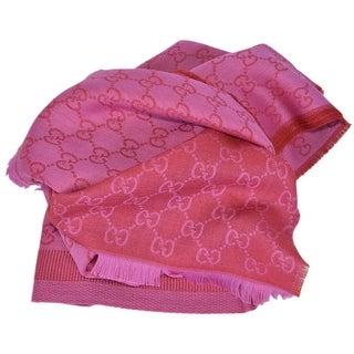 Gucci 282390 Large Pink Red Wool Silk GG Guccissima Logo Scarf Shawl