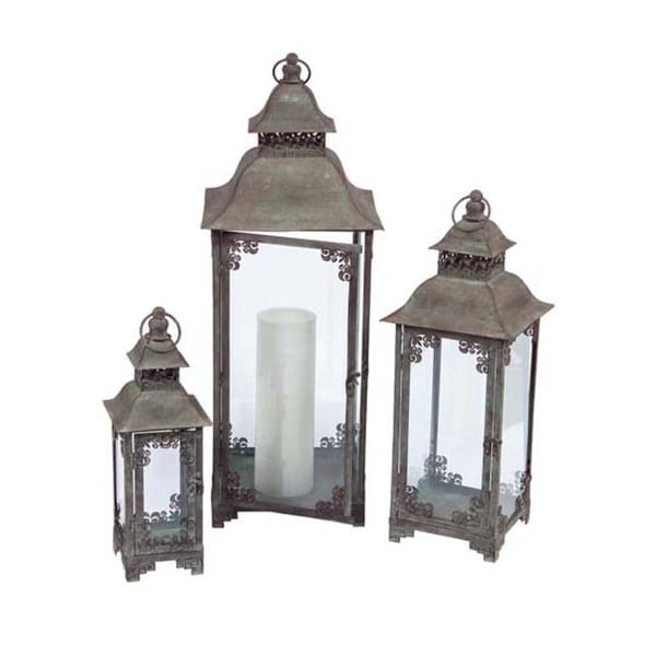 shop set of 3 country vineyard verdigris decorative multi sized candle lanterns green free. Black Bedroom Furniture Sets. Home Design Ideas