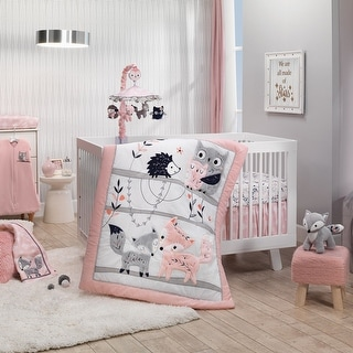 Lambs & Ivy Forever Friends White/Pink/Gray Woodland Fox/Owl 4-Piece Nursery Crib Baby Bedding Set
