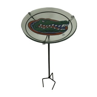 NCAA University of Florida Gators Glass Birdbath Garden Stake - Green