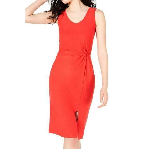 Ultra Flirt Red XS Junior Sheath Dress Side Twist Slit V Neck Jersey