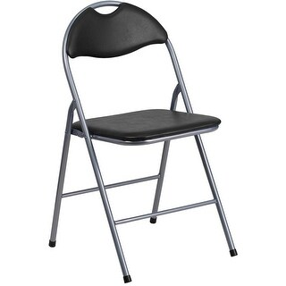 Rivera Metal Folding Chair, Black, Vinyl Seat