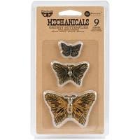 Finnabair Mechanicals Metal Embellishments-Grungy Butterflies 9/Pkg