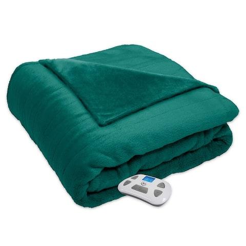 Serta Silky Plush Electric Heated Warming Blanket