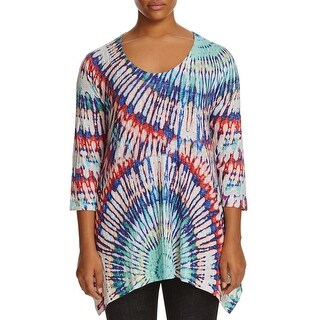 Nally & Millie Womens Plus Pullover Sweater Tie-Dye Asymmetrical