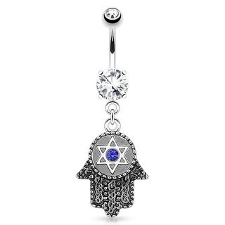 Hamsa with Hexagram and Blue Gem Dangle 316L Surgical Steel Navel Belly Button Ring