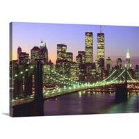 Premium Thick-Wrap Canvas entitled Brooklyn Bridge and Manhattan skyline at dusk, New York - Multi-color
