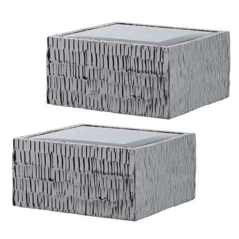 """Set of 2 Silver Contemporary Chiseled Wall Shelves 48"""""""