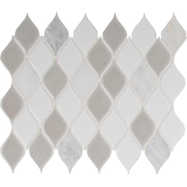 "MSI SMOT-SP-CRE8MM 12"" x 12"" Rain Drop Mosaic Sheet - Varied Porcelain and Stone Visual - Sold by Carton (10 SF/Carton)"
