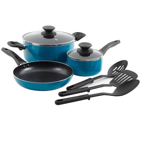 Gibson Palmer 8pc Cookware Set in Turquoise
