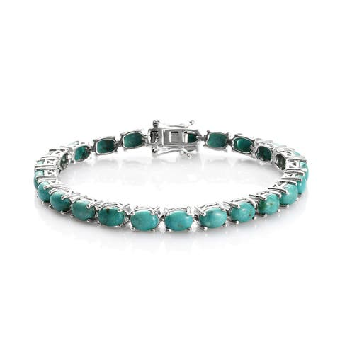 925 Silver Turquoise Tennis Elegant Bracelet Size 7.25 In Ct 15.2 - Bracelet 7.25''