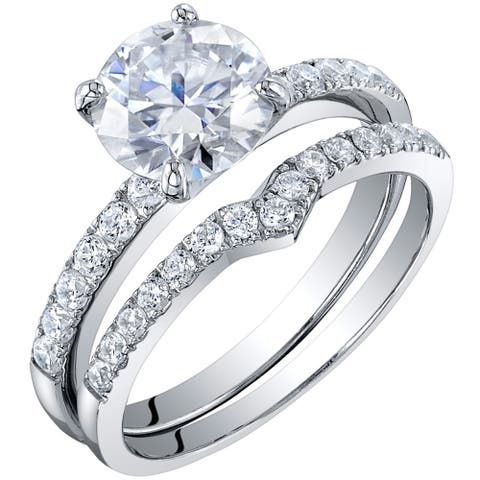 2 Carat Moissanite Solitaire Engagement Ring Wedding Band Bridal Set in Sterling Silver