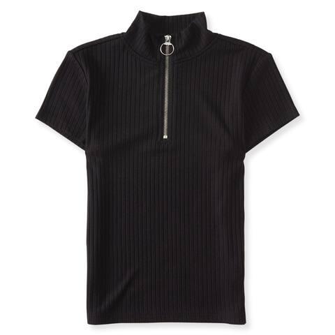 Aeropostale Womens Ribbed 1/4 Zip Basic T-Shirt