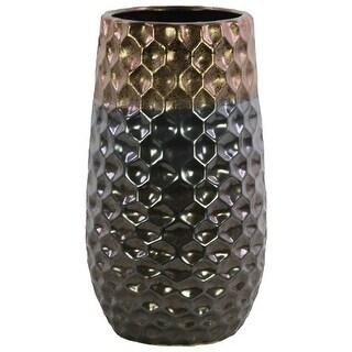 Round Vase With Embossed Diamond Design Body, Large, Dark Gray
