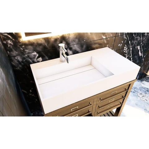 "Juniper 36"" Solid Surface Bathroom Vanity Top - Left Basin"