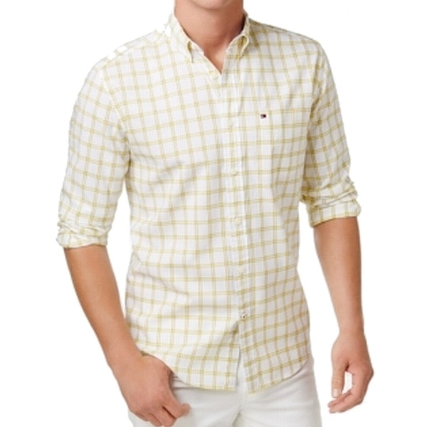 dc630ab0 Shop Tommy Hilfiger Yellow Mens Size 2XL Button Down Pocket Plaid Shirt -  Free Shipping On Orders Over $45 - Overstock - 21951978