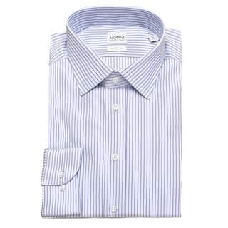 Armani Collezioni Men Slim Fit Cotton Dress Shirt Blue Pinstriped|https://ak1.ostkcdn.com/images/products/is/images/direct/3bc548ae93274b065892a4cb3f260be6987ca7d2/Armani-Collezioni-Men-Slim-Fit-Cotton-Dress-Shirt-Blue-Pinstriped.jpg?impolicy=medium