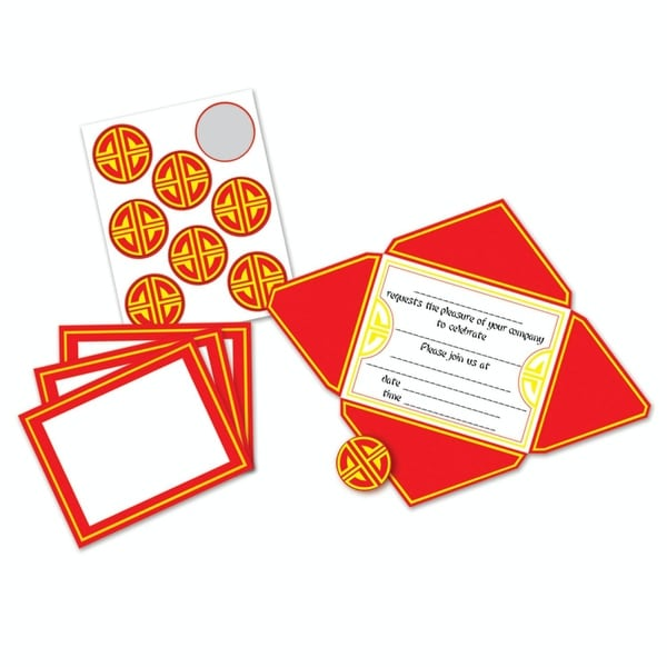 pack of 96 asian chinese new year self mailing party invitations and seals 575