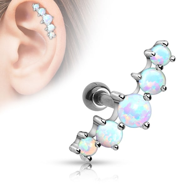 Five Opal Ball 316L Surgical Steel Tragus/Cartilage Barbell (Sold Ind.)