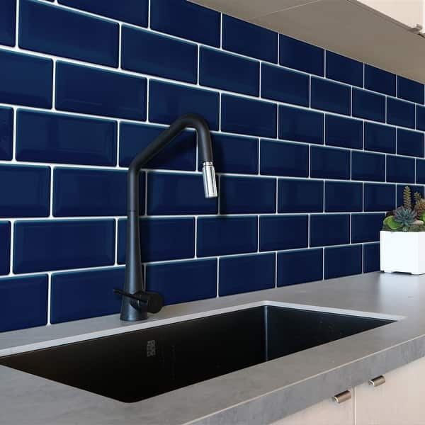 Walplus 12 Sheets 30x15cm Deep Blue